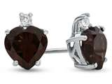 10k White Gold 7mm Heart Shaped Garnet with White Topaz Earrings style: E824906