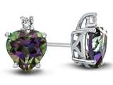 10k White Gold 7mm Heart Shaped Mystic Topaz with White Topaz Earrings style: E824907
