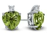 10k White Gold 7mm Heart Shaped Peridot with White Topaz Earrings style: E824908