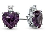 10k White Gold 7mm Heart Shaped Simulated Alexandrite with White Topaz Earrings style: E824909