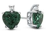 10k White Gold 7mm Heart Shaped Simulated Emerald with White Topaz Earrings style: E824911