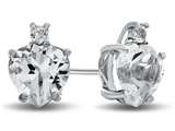 10k White Gold 7mm Heart Shaped White Topaz Earrings style: E824913