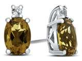 10k White Gold 7x5mm Oval Citrine with White Topaz Earrings style: E825001