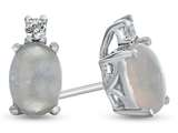10k White Gold 7x5mm Oval Created Opal with White Topaz Earrings style: E825002