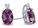 10k White Gold 7x5mm Oval Created Pink Sapphire with White Topaz Earrings style: E825003