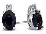 10k White Gold 7x5mm Oval Created Sapphire with White Topaz Earrings style: E825005