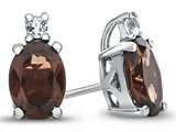 10k White Gold 7x5mm Oval Garnet with White Topaz Earrings style: E825006