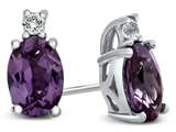 10k White Gold 7x5mm Oval Simulated Alexandrite with White Topaz Earrings style: E825009