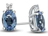 10k White Gold 7x5mm Oval Swiss Blue Topaz with White Topaz Earrings style: E825012