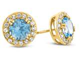 10kt Yellow Gold 6mm Round Swiss Blue Topaz with White Topaz accent stones Halo Earrings style: E9698MUL110KY