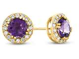 14kt Yellow Gold 6mm Round Amethyst with White Topaz accent stones Halo Earrings style: E9698MUL214KY