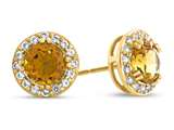 10kt Yellow Gold 6mm Round Citrine with White Topaz accent stones Halo Earrings style: E9698MUL310KY