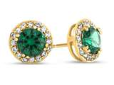 14kt Yellow Gold 6mm Round Simulated Emerald with White Topaz accent stones Halo Earrings style: E9698MUL414KY