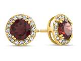 14kt Yellow Gold 6mm Round Garnet with White Topaz accent stones Halo Earrings style: E9698MUL514KY