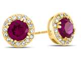 14kt Yellow Gold 6mm Round Created Ruby with White Topaz accent stones Halo Earrings style: E9698MUL614KY