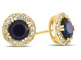 14kt Yellow Gold 6mm Round Created Sapphire with White Topaz accent stones Halo Earrings style: E9698MUL714KY