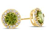 10kt Yellow Gold 6mm Round Peridot with White Topaz accent stones Halo Earrings style: E9698MUL810KY
