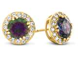 14kt Yellow Gold 6mm Round Mystic Topaz with White Topaz accent stones Halo Earrings style: E9698MUL914KY
