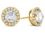 14kt Yellow Gold 6mm Round White Topaz with White Topaz accent stones Halo Earrings style: E9698WT14KY