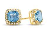 14kt Yellow Gold 6mm Cushion Swiss Blue Topaz with White Topaz accent stones Halo Earrings style: E9699MUL114KY