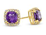 14kt Yellow Gold 6mm Cushion Amethyst with White Topaz accent stones Halo Earrings style: E9699MUL214KY