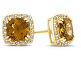 14kt Yellow Gold 6mm Cushion Citrine with White Topaz accent stones Halo Earrings style: E9699MUL314KY