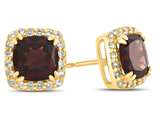 14kt Yellow Gold 6mm Cushion Garnet with White Topaz accent stones Halo Earrings style: E9699MUL514KY