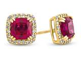 10kt Yellow Gold 6mm Cushion Created Ruby with White Topaz accent stones Halo Earrings style: E9699MUL610KY