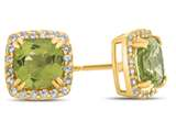 14kt Yellow Gold 6mm Cushion Peridot with White Topaz accent stones Halo Earrings style: E9699MUL814KY