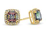 14kt Yellow Gold 6mm Cushion Mystic Topaz with White Topaz accent stones Halo Earrings style: E9699MUL914KY