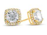14kt Yellow Gold 6mm Cushion White Topaz with White Topaz accent stones Halo Earrings style: E9699WT14KY