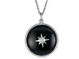 Finejewelers Sterling Silver Round Cabochon Onyx and White Topaz Star Necklace Pendant style: N1715ON