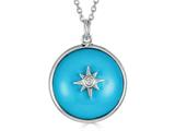 Finejewelers Sterling Silver Round Cabochon Compressed Turquoise and White Topaz Star Necklace Pendant style: N1715TQ