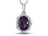 10kt White Gold Oval Amethyst with White Topaz accent stones Halo Pendant Necklace style: P10563SPMUL10KW