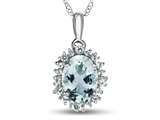 10kt White Gold Oval Aquamarine with White Topaz accent stones Halo Pendant Necklace style: P10563SPMUL110KW