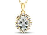 10kt Yellow Gold Oval Aquamarine with White Topaz accent stones Halo Pendant Necklace style: P10563SPMUL110KY