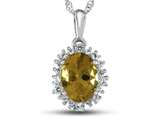 10kt White Gold Oval Citrine with White Topaz accent stones Halo Pendant Necklace style: P10563SPMUL210KW