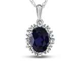 10kt White Gold Oval Created Sapphire with White Topaz accent stones Halo Pendant Necklace style: P10563SPMUL310KW