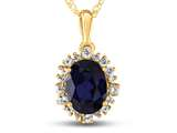 10kt Yellow Gold Oval Created Sapphire with White Topaz accent stones Halo Pendant Necklace style: P10563SPMUL310KY