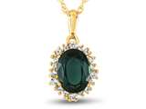 10kt Yellow Gold Oval Created Emerald with White Topaz accent stones Halo Pendant Necklace style: P10563SPMUL510KY