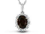 10kt White Gold Oval Garnet with White Topaz accent stones Halo Pendant Necklace style: P10563SPMUL610KW