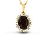 10kt Yellow Gold Oval Garnet with White Topaz accent stones Halo Pendant Necklace style: P10563SPMUL610KY