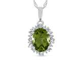 10kt White Gold Oval Peridot with White Topaz accent stones Halo Pendant Necklace style: P10563SPMUL710KW