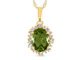 10kt Yellow Gold Oval Peridot with White Topaz accent stones Halo Pendant Necklace style: P10563SPMUL710KY