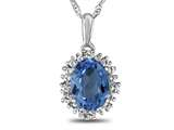 10kt White Gold Oval Swiss Blue Topaz with White Topaz accent stones Halo Pendant Necklace style: P10563SPMUL810KW