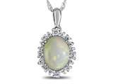 10kt White Gold Oval Opal with White Topaz accent stones Halo Pendant Necklace style: P10563SPMUL910KW