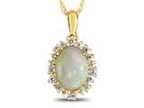 10k Yellow Gold Oval Opal with White Topaz accent stones Halo Pendant Necklace style: P10563SPMUL910KY