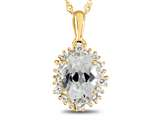 10kt Yellow Gold Oval White Topaz with White Topaz accent stones Halo Pendant Necklace style: P10563SPWT10KY