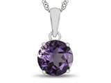 10kt White Gold 7mm Round Amethyst Pendant Necklace style: P1078200