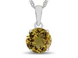 Finejewelers 10k White Gold 7mm Round Citrine Pendant Necklace style: P1078201
